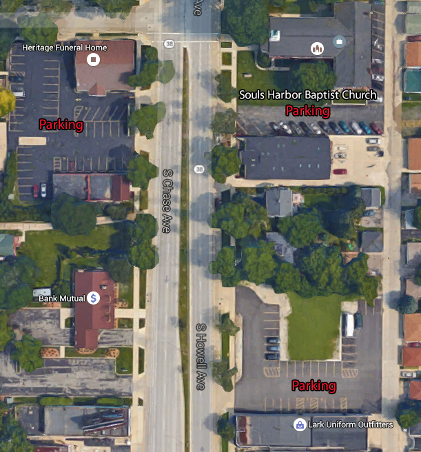 Aerial view of parking lot locations around the Souls Harbor Baptist Church building